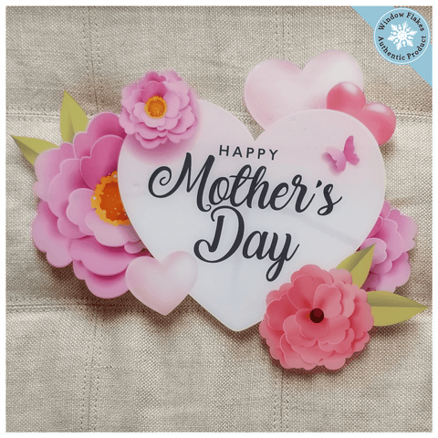 Mother's Day Heart with Flowers Window Cling