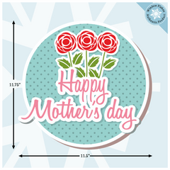 Mothers Day Window Stickers - Mother's Day Window Decorations - Mother's Day Roses in Roundel Vinyl Cling - Mothers Day Store Window Cling