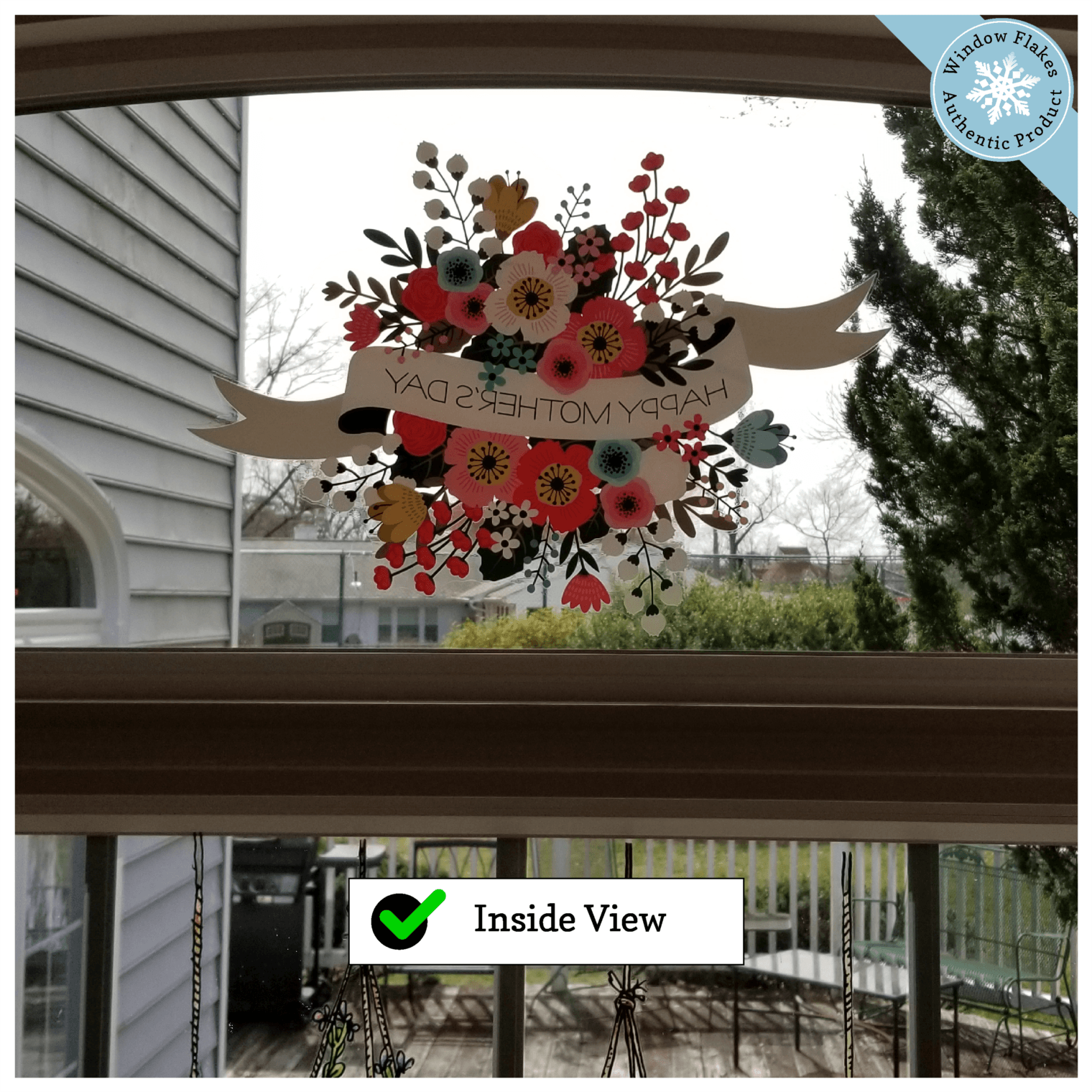 Happy Mother/'s Day Vintage Flowers Window Cling Sticker