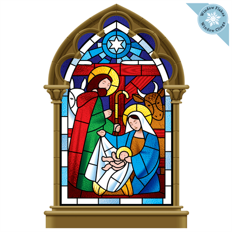 Small Stained Glass Nativity Scene