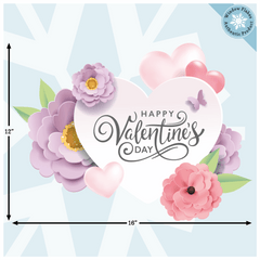 Happy Valentine Pastel Hearts and Flowers Window Cling