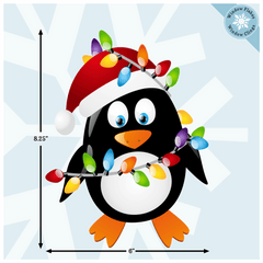 Christmas Penguin with Lights Window Cling