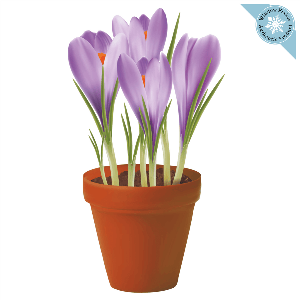 Crocuses Potted Plant / Potted Flowers Window Cling from Window Flakes - Home Office Retail Store Decoration and Decor - Spring and Summer Window Decal Sticker