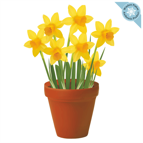 Daffodils Potted Plant / Potted Flowers Window Cling