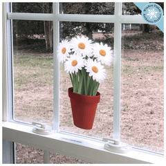 Daisies Potted Plant / Potted Flowers Window Cling from Window Flakes Home Office Retail Store Decorations decor decal sticker