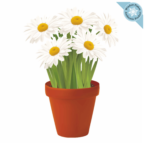 Daisies Potted Plant / Potted Flowers Window Cling
