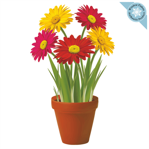 Gerberas Potted Plant / Potted Flowers Window Cling
