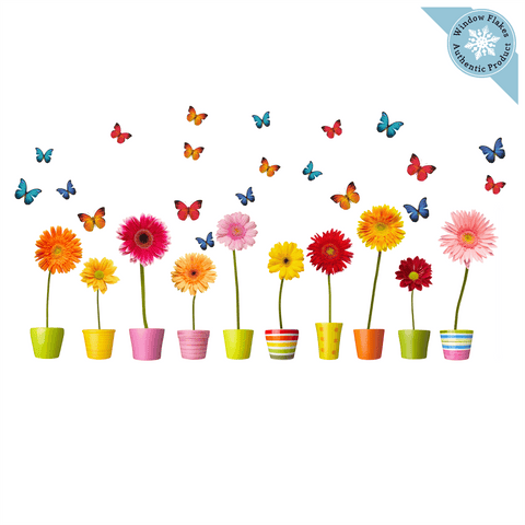Potted Flowers & Butterfly Window Cling
