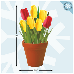 Tulips Plant / Potted Flowers Window Cling from Window Flakes for Office home retail store decoration decor decal sticker for Spring