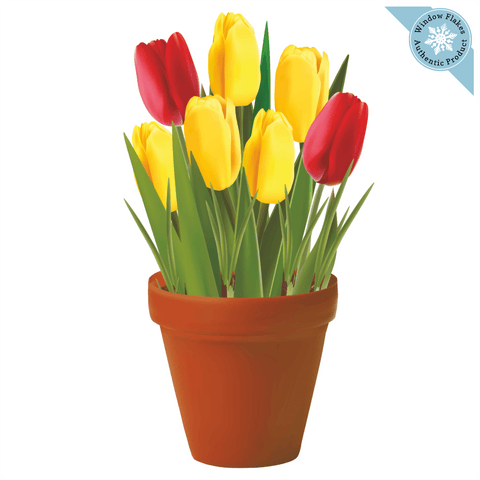 Tulips Potted Plant / Potted Flowers Window Cling