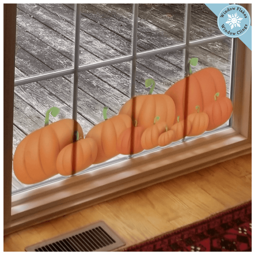 Pumpkins Window Cling Border - Thanksgiving Decoration - Pumpkin Decal