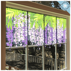 Wisteria Window Cling Decal Sticker Border (purple and pink)- Spring Decoration from Window Flakes for home office cafe salon decor.