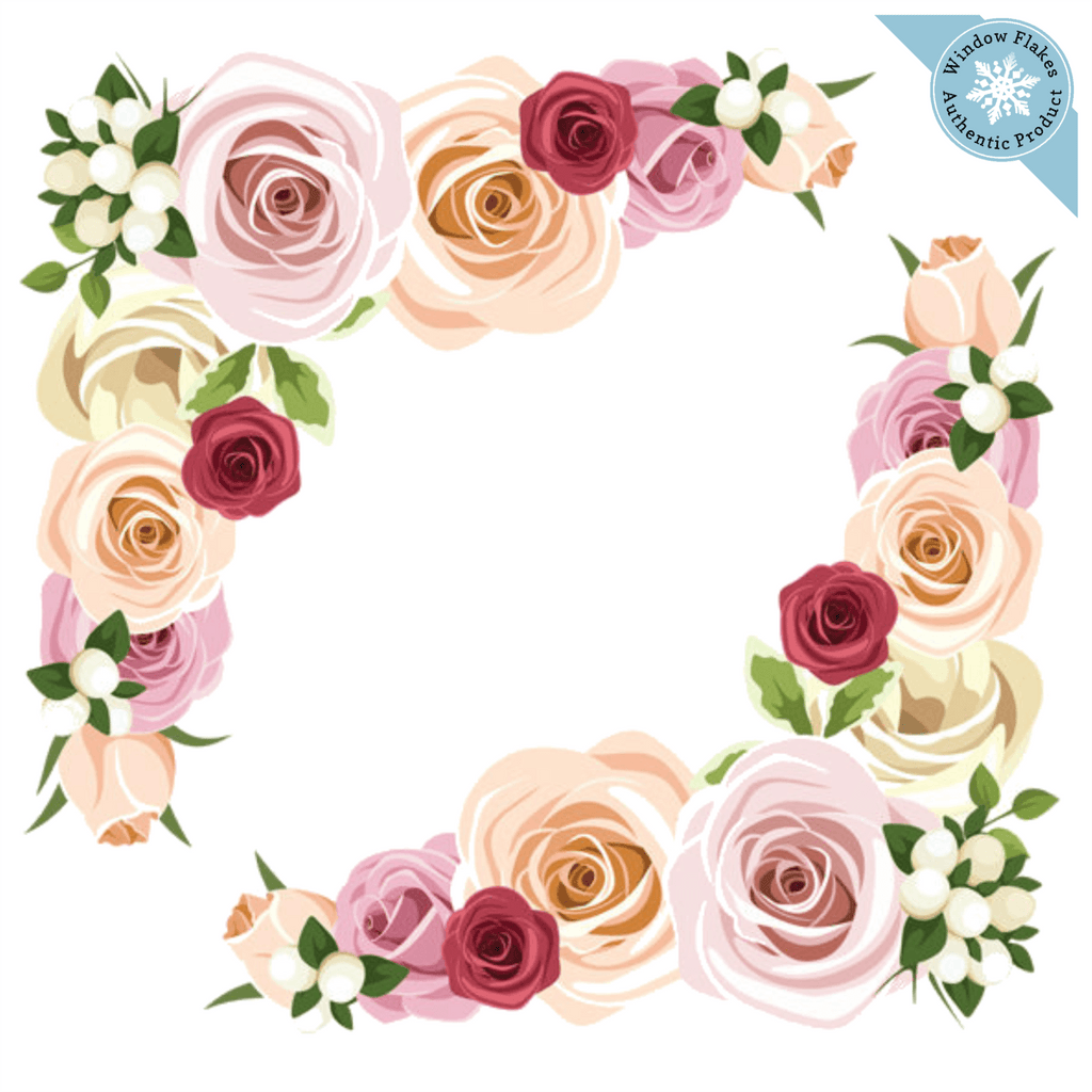 Rose Corner Valentine / Floral  Window Cling Decoration (set of 2)