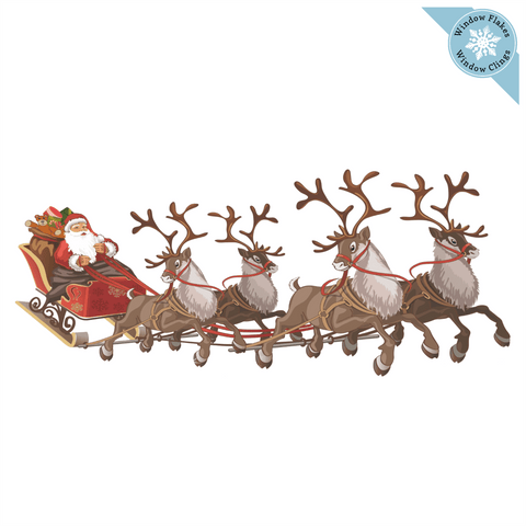 Large Santa Sleigh Window Cling