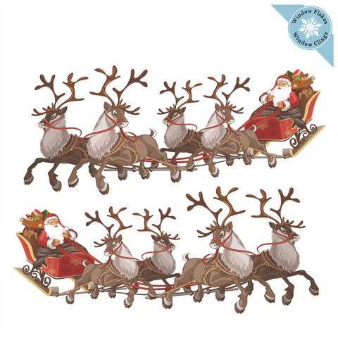 Santa Sleigh Window Cling - Set of 2