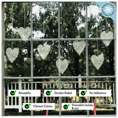 "12"" & 6"" Snowflake Hanging Heart Window Clings"