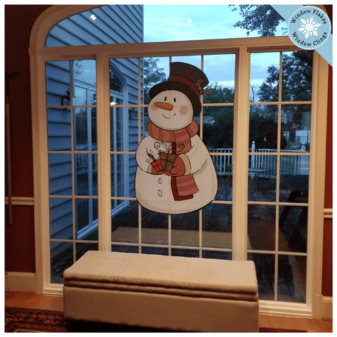 X-Large Vintage Snowman Window Cling