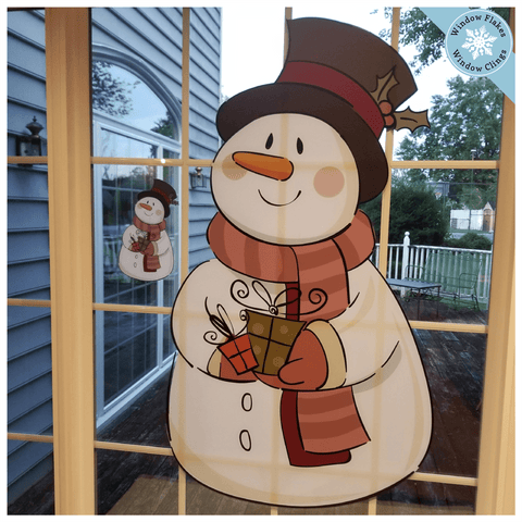 Small Vintage Snowman Window Cling