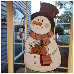 SMALL VINTAGE SNOWMAN WINDOW CLINGS :: This Vintage Snowman Decoration window clings is a design marvel, let alone a decorative one. Each snowman is printed double sided using our innovative print process so they decorate both the view from inside and outside of your windows or glass doors.