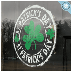 "St. Patrick's Day Window Cling. 12"". Green and White Roundel - home, bar cafe office decal sticker decoration decor"