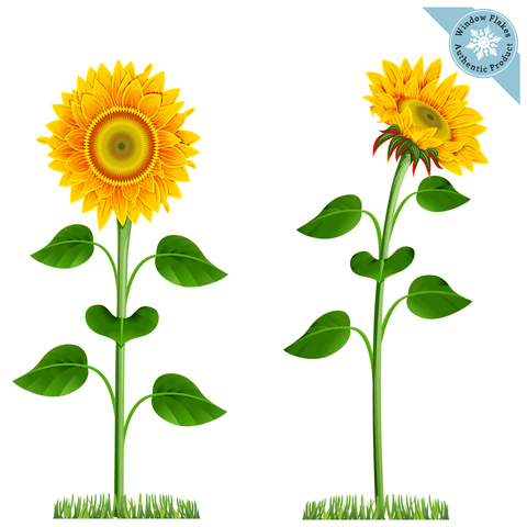 Sunflower Window Clings, Removable Floral Decor