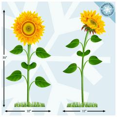 Sunflower Window Clings - Removable Floral Decor