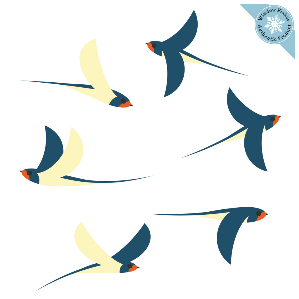 Illustrated Swallows Window Clings - Set of 6