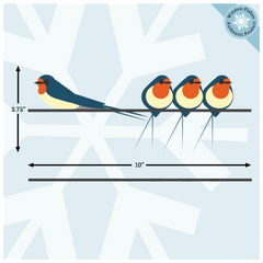Swallows On A Wire Window Clings - Decorative Illustrated Window Clings