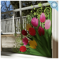 Tulip Corners Window Clings (set of 2) - Spring Window Decorations Flower Decal Sticker Home Decor Retail Store Window