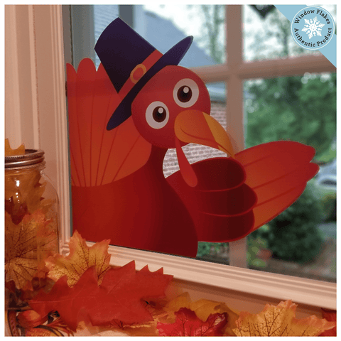 Waving Thanksgiving Turkey Window Cling