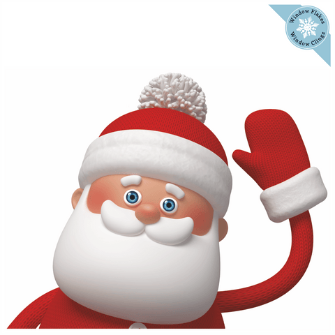 Waving Santa Christmas Window Cling
