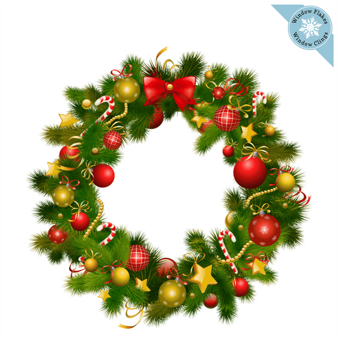 Christmas Wreath Color Window Cling
