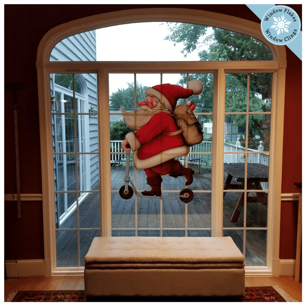 XL Vintage Scooter Santa Window Cling
