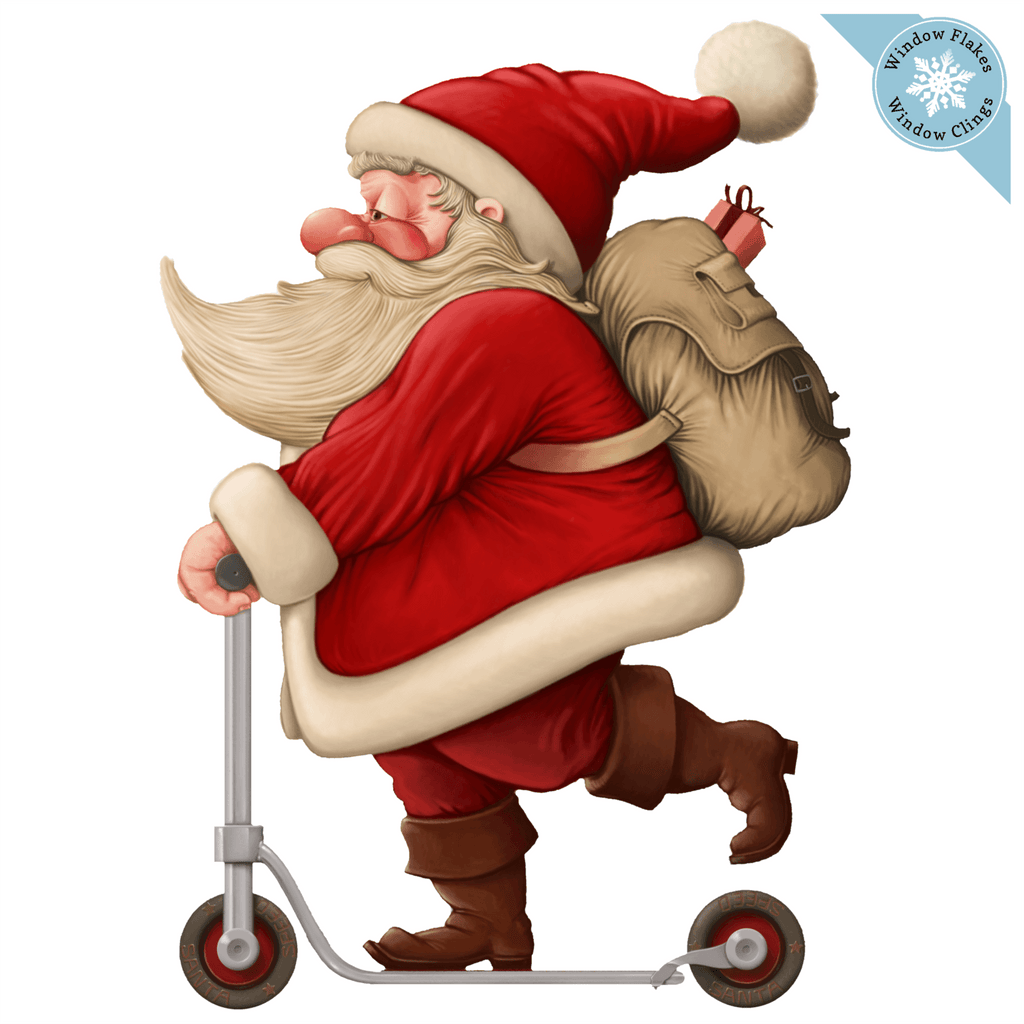 🎅 SMALL VINTAGE SCOOTER SANTA WINDOW CLING :: This vintage Santa window cling is printed double sided in vibrant bright color so that it gives a beautiful decorative view from indoor and out. This decal cling is perfect for decorating any room in the home to bring that holiday spirit.