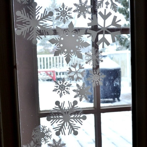 12 flake 4 inch static cling christmas holiday snowflake window decoration clings window