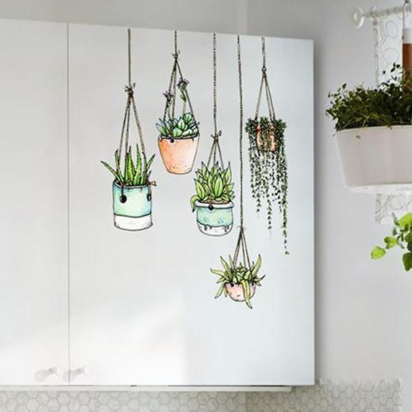Illustrated hanging plants window clings wall stickers - How to hang plants in front of windows ...
