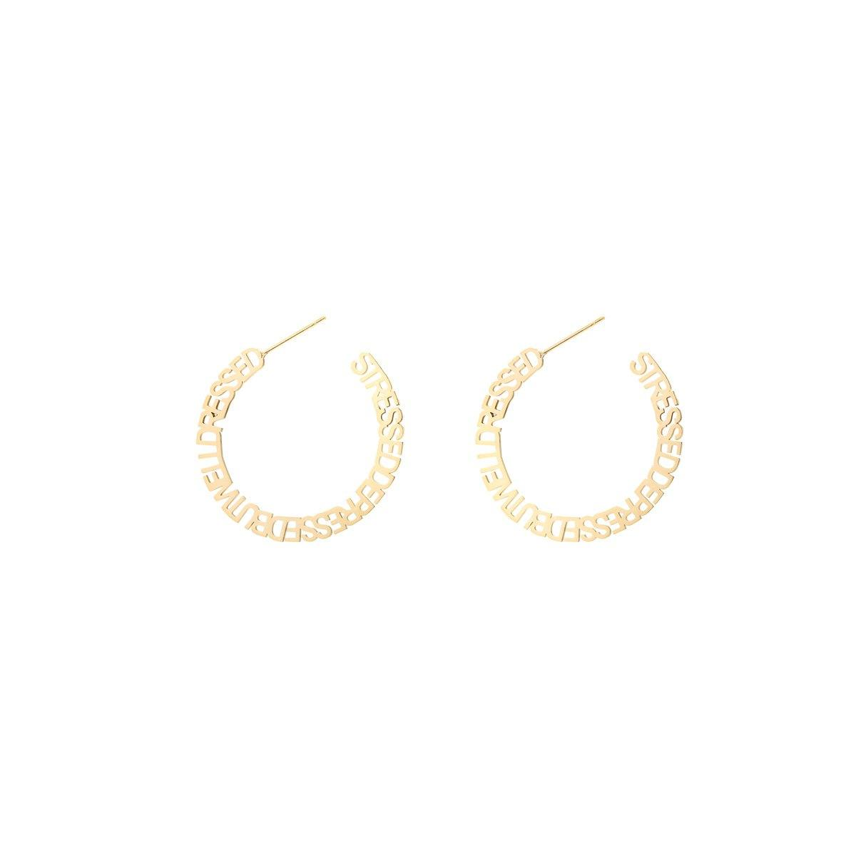 STRESSED DEPRESSED EARRINGS - ZARIA.SE