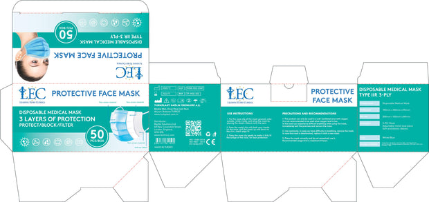 DISPOSABLE 3-PLY TYPE IIR FACE MASKS (50 PCS).