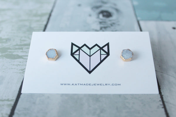 Hex Druzy Crystal Stud Earrings - Kat Made Jewelry