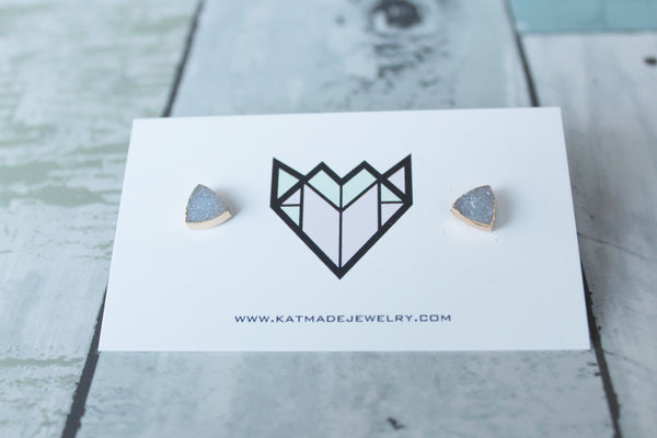 Triangle Druzy Stud Earrings - Kat Made Jewelry