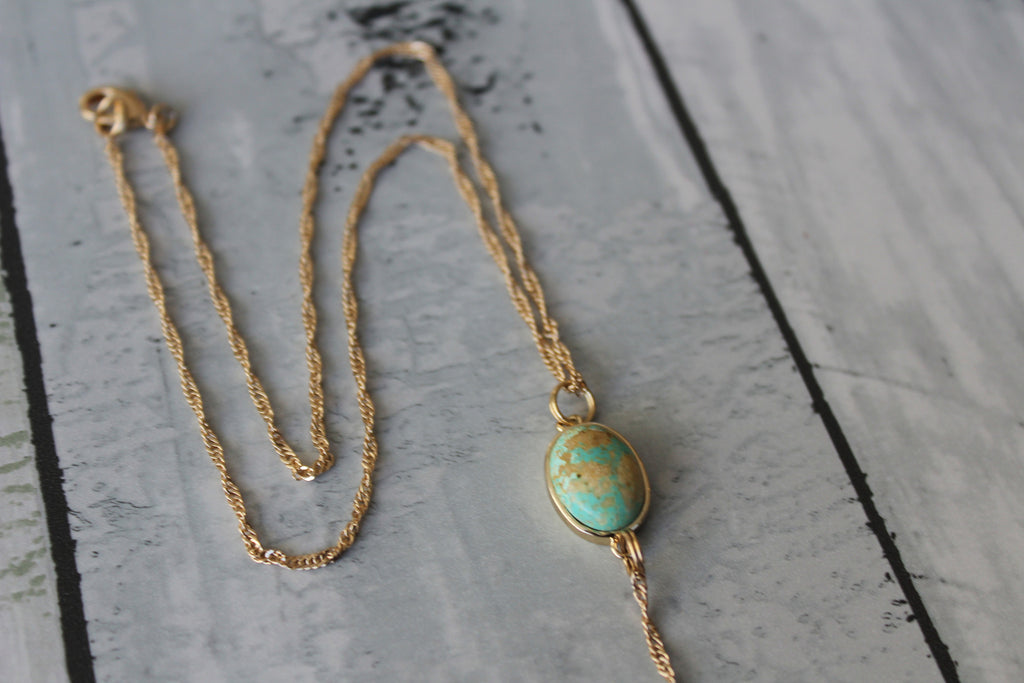 Turquoise Oval Necklace - Kat Made Jewelry  - 1