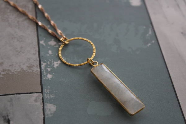 Rectangle Moonstone Necklace