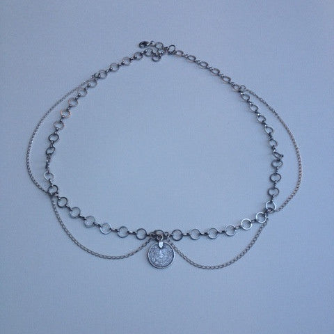 Bohemain Silver Coin Head Chain - Kat Made Jewelry - Geometric and Crystal Jewelry - Vancouver, Canada
