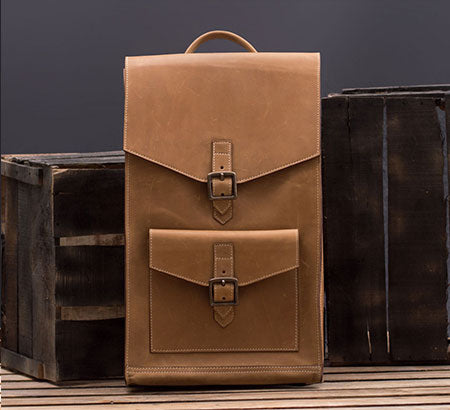 Handcrafted Brown Leather Backpack For Office