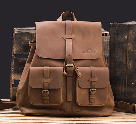 Personalized Top Grain Urban Leather Backpack