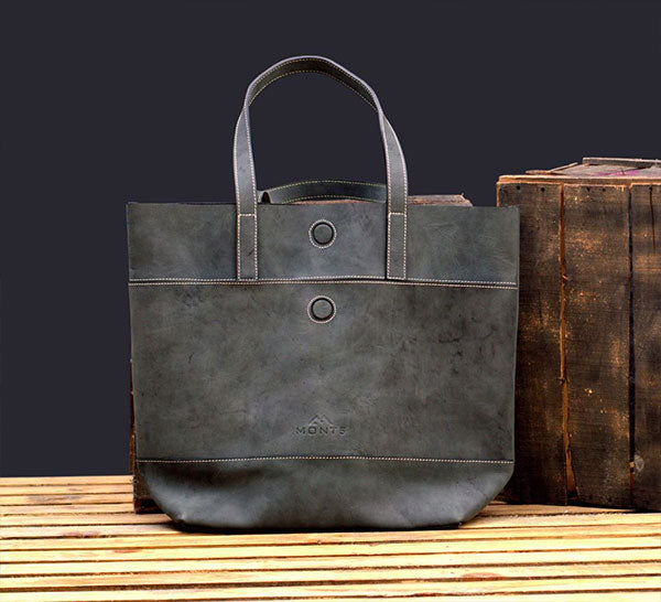 Charcoal Black Leather Tote