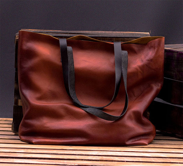 Waxed Brown Leather Tote