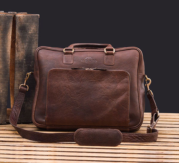 Father Day Gift: Vintage Brown Leather Briefcase