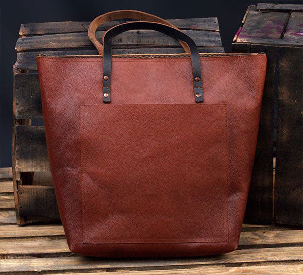 Gift For Her: Everyday Brown Leather Tote Bag