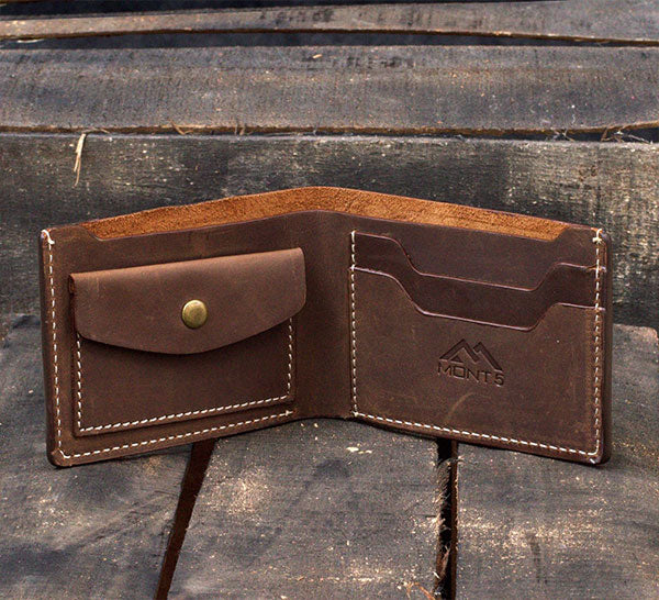 Gift For Him: Handcrafted Slim Leather Wallet